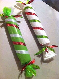 diy candy decor Christmas: paper towel rolls and toilet paper rolls. I'd love to do this for an advent calendar and hide letters and treats inside.