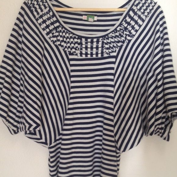 Navy blue and white stripes top Batwings top Anthropologie Tops