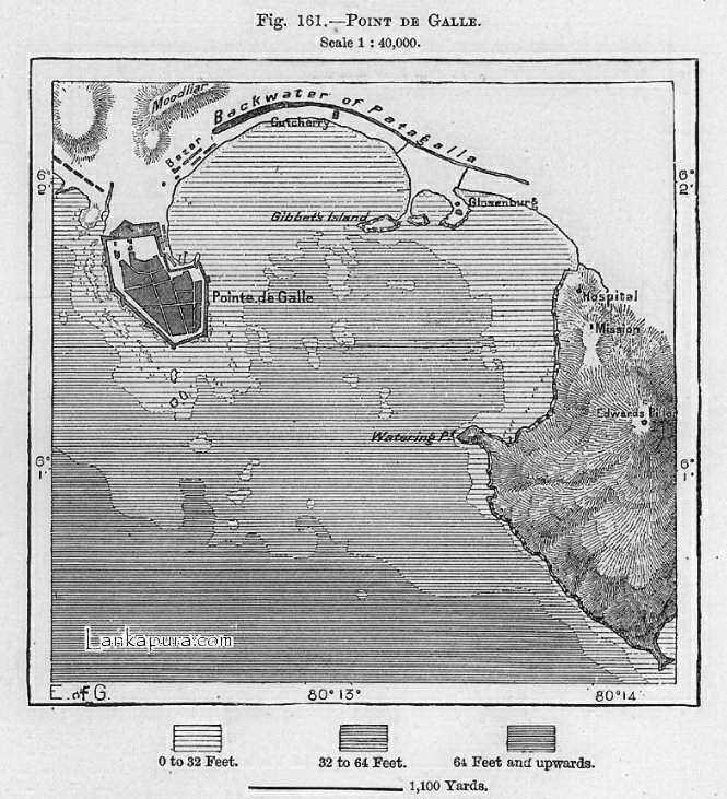Map of Point De Galle Sri Lanka Ceylon c.1884