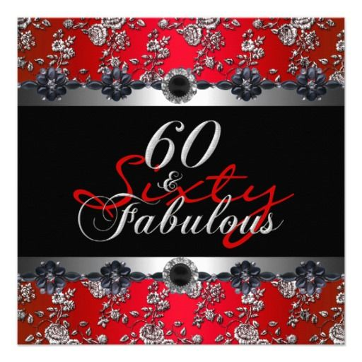 60  Fabulous 60th Birthday Party Silver Red Personalized Announcement