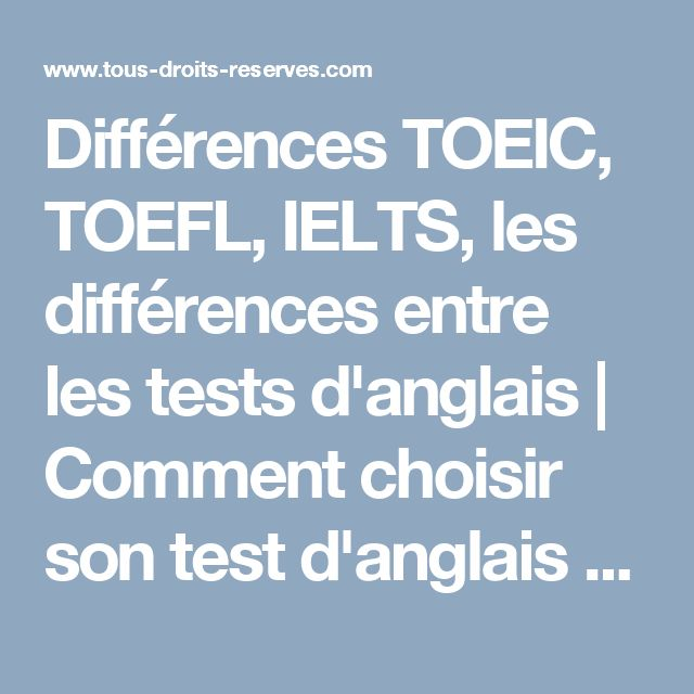 différence entre toeic et toefl