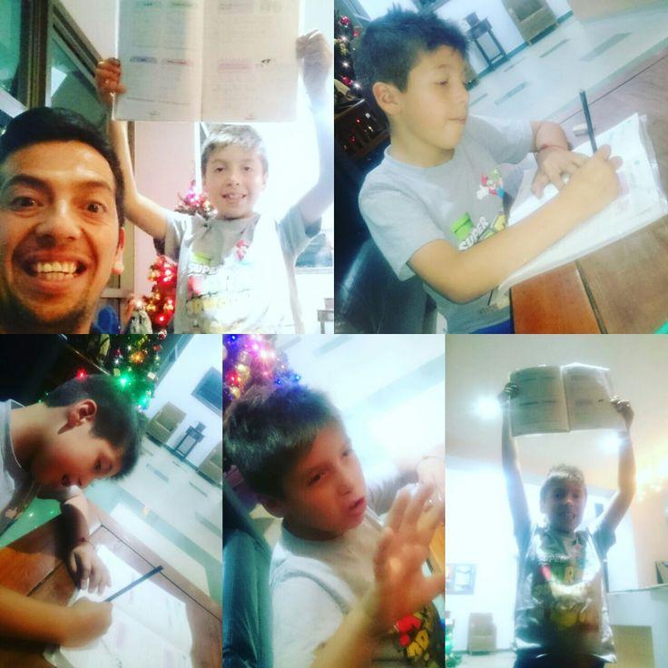 hijo feliz padre feliz , ultimo día de caligrafías  prueba  superada
