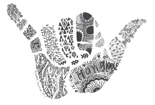 """Keep calm and shaka on. I love the Hawaiian culture and their laid back attitudes. This is a drawing of the """"hang loose"""" or """"shaka"""" sign. The Hawaiians use this sign as a concept of friendship, understanding, compassion, and solidarity in the cultures in the Hawaiian culture. I love everything that this sign symbolizes and i throw it up all the time."""