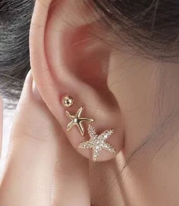 Set of 3 Gold Rhinestone Starfish Earrings by TheTinyMustardSeed