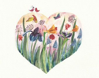 Love heart full with spring flowers