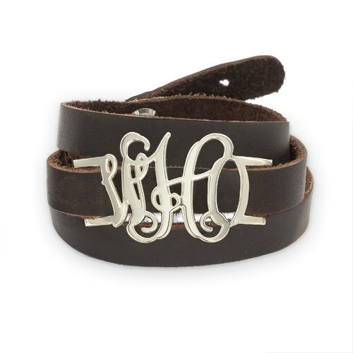 Bracelet Monogramme A Enrouler en Cuir