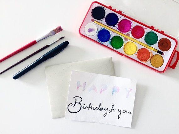Handmade Watercolor Happy Birthday To You Card by Colortastico