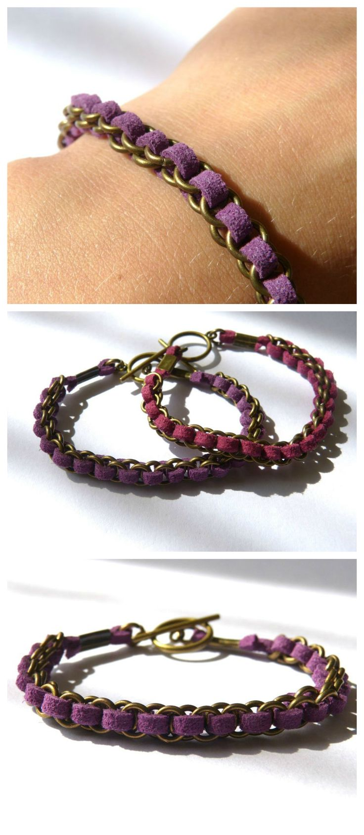 Weave faux suède lace into jump rings to make this super easy and cute bracelet.