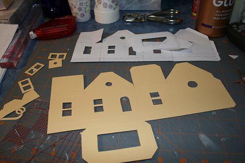 putz tutorialCardboard House, Christmas Crafts, Putz House, Diy Crafts, Christmas House, Glitter House, Christmas Paper, Paper House, Christmas Putz