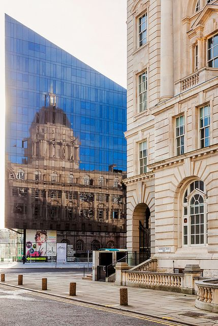 Liverpool, England. The Latitude building reflects the Port of Liverpool building