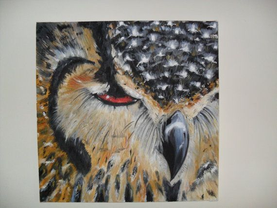 The Owl  an oil painting by HereAndThereArt on Etsy #OilPaintingOwl