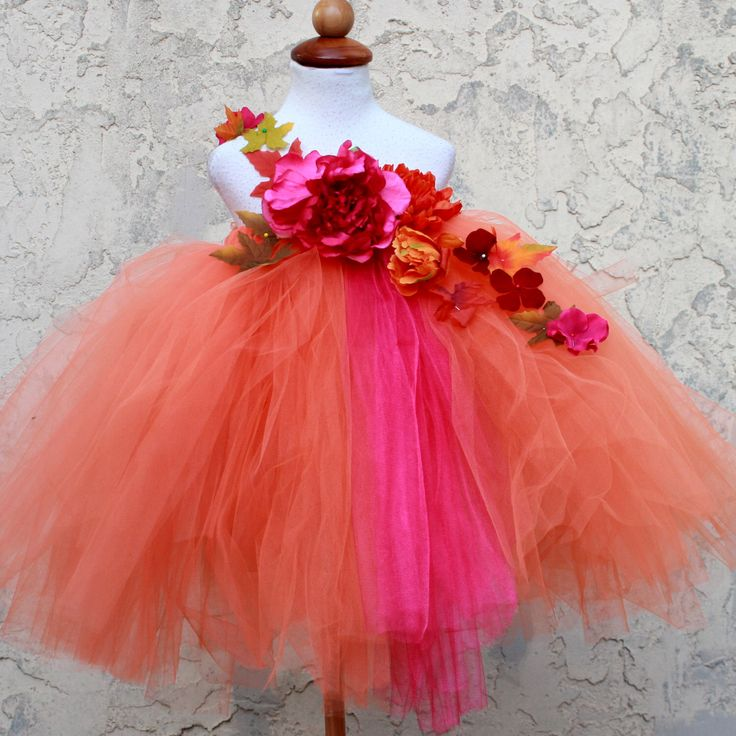 Fall Tutu Dress - Fall Flower Girl Dress -  Autumn Dress Fall Wedding - Autumn Tutu Dress - Fuchsia Orange Dress by BloomsNBugs on Etsy https://www.etsy.com/listing/245595730/fall-tutu-dress-fall-flower-girl-dress