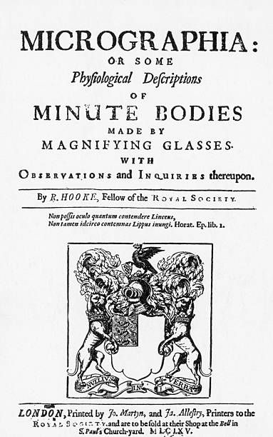 The title page from Micrographia by Robert Hooke a book that detailed and illustrated Hooke's observations of objects using a compound microscope