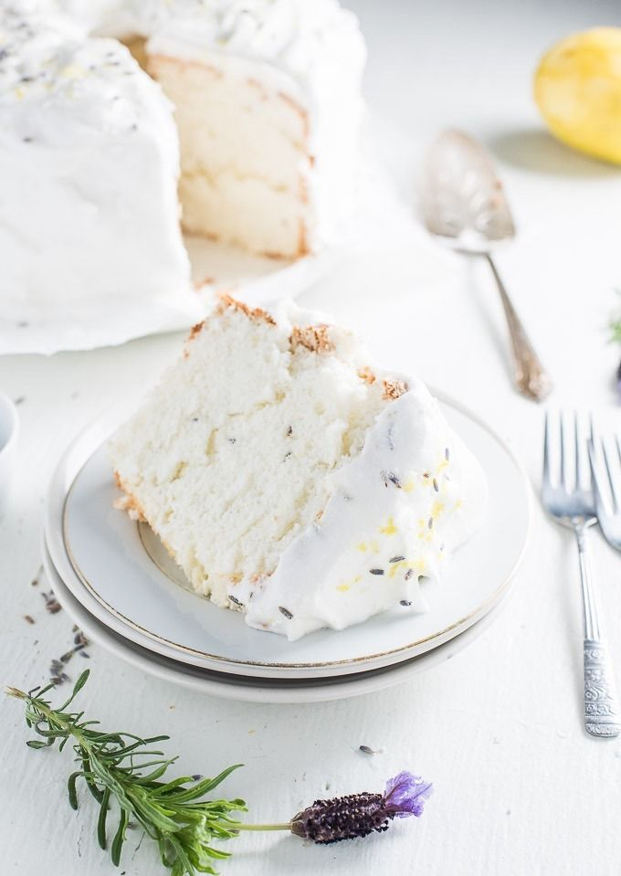 Lavender lemon angel food cake for spring dessert