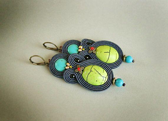 Blue dangle soutache earrings long earrings blue earrings by pUkke