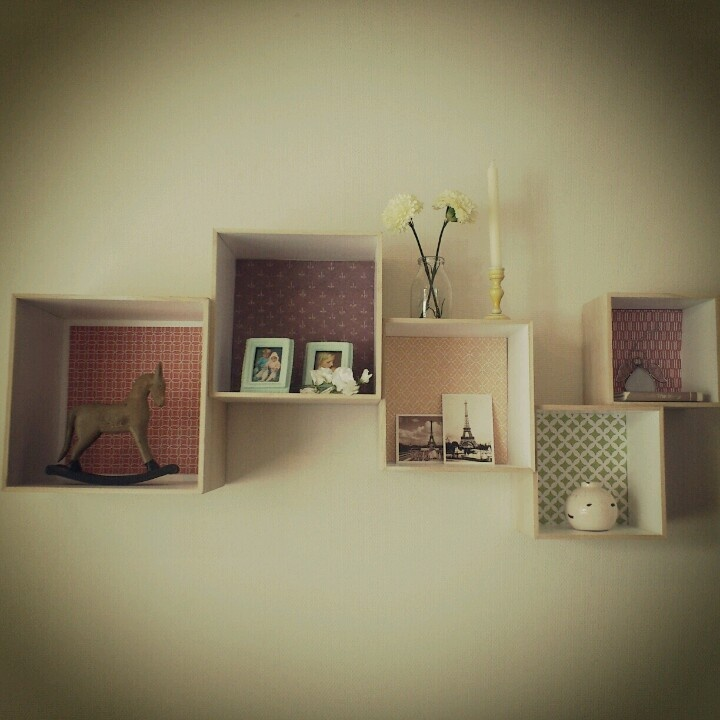 Bloomingville wall shelves with paper glued backgroud