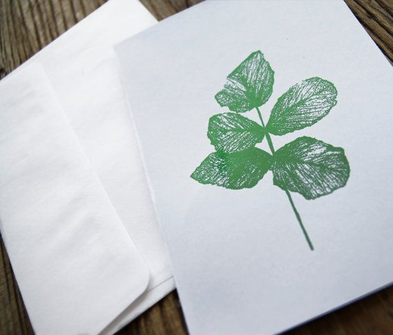 "Greeting Card  ""Green leaves"" (green foil)"