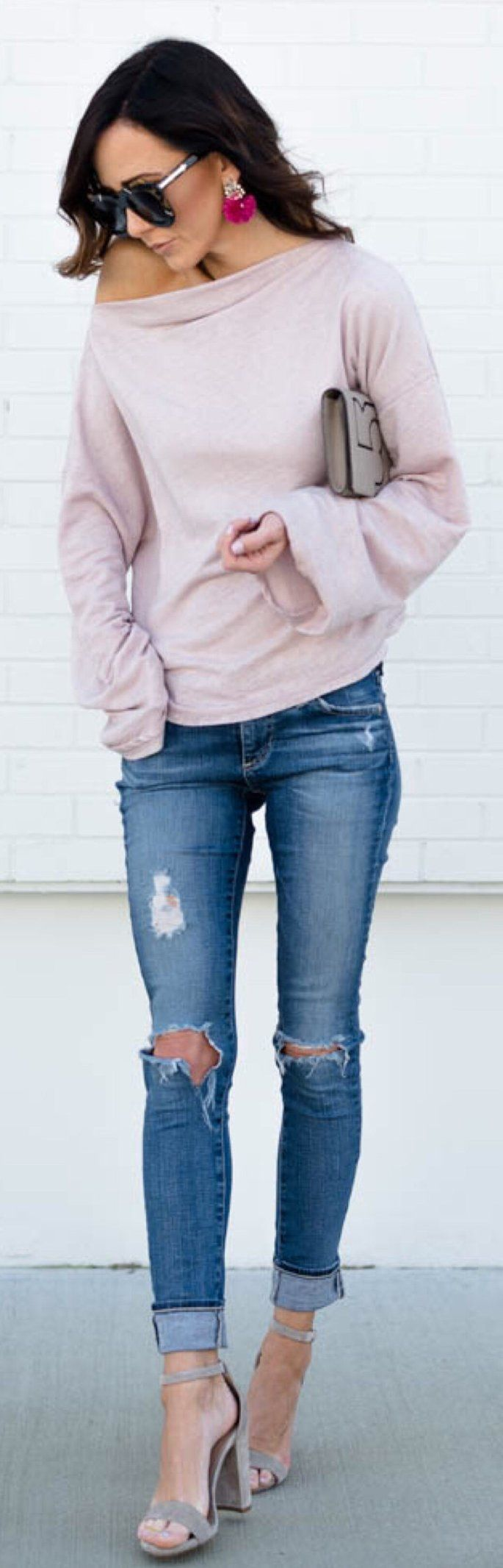 #spring #outfits /  Pink Off Shoulder Knit / Ripped Skinny Jeans / Grey Sandals