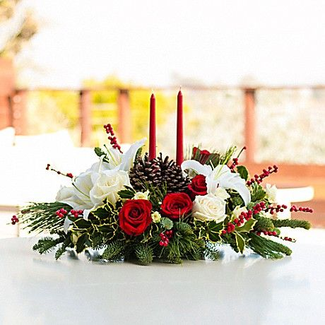 Christmas Wishes Centerpiece Bouquet - Teleflora