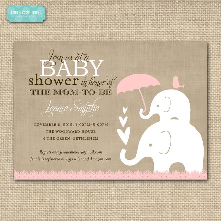 Elephant Baby Shower Invitation /Pink Printable Baby Shower Invitation / Elephant  Baby and Momma Theme / Item 10553p.  via Etsy.