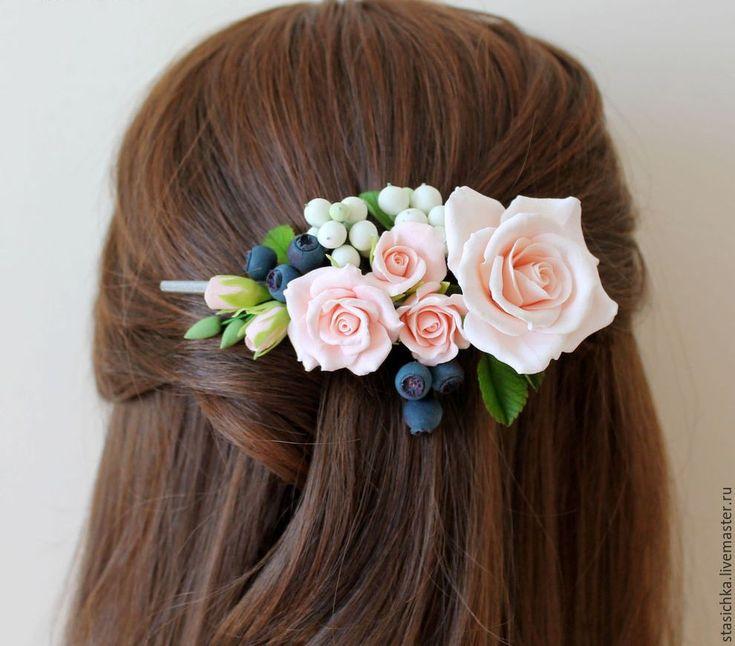 """Купить Заколка- зажим """"Нежность"""" с розами из полимерной глины - бледно-розовый, однотонный, заколка для волос"""
