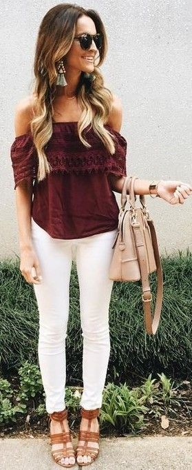 #summer #lovely #fashion | Coffee Off Shoulder Top + White Jeans