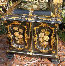 Antico c1850 PAPIER ventaglio MADREPERLA tabella inlaid Armadietto portagioie