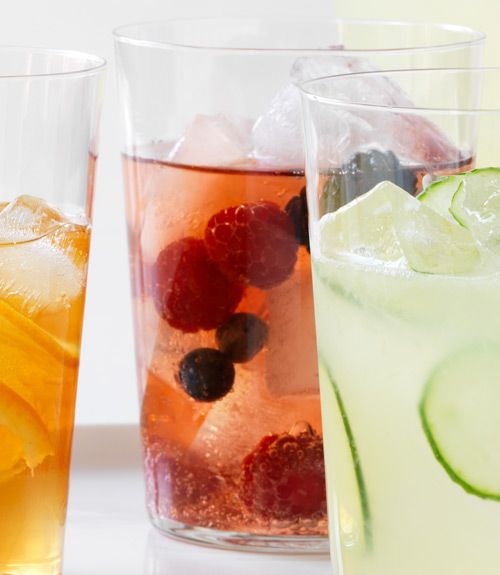 Club soda and red tea with a handful of fresh berries—summer in a glass.  - WomansDay.com