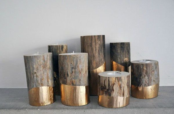 Simple Winter Wedding DIY Projects // Gold-Dipped Log Candleholders // see them all on www.onefabday.com