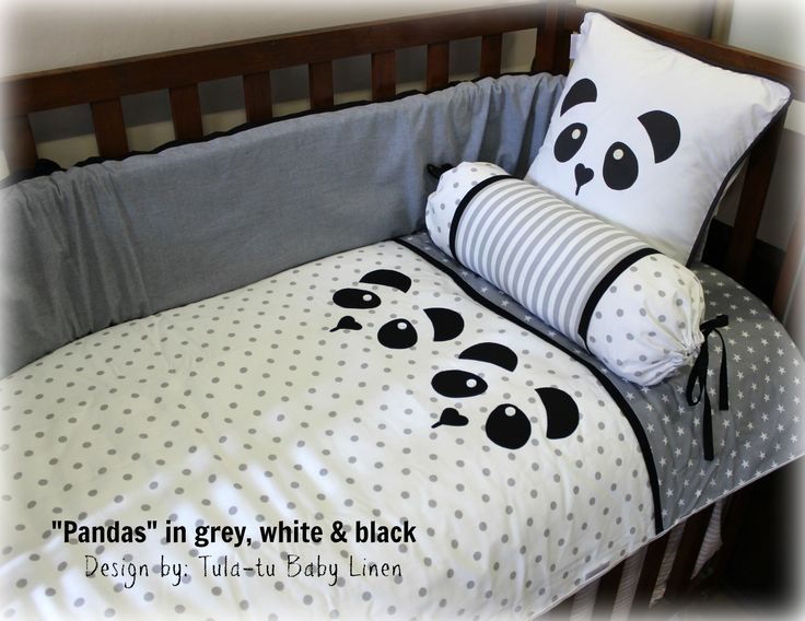 Panda themed nursery linen in black, white & grey. Made to order by Tula-tu Baby Linen. View more designs on our website: www.tulatu.co.za