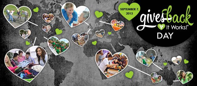 #ItWorks! is setting out to make a #difference locally and globally! Get #passionate and #giveback on our 2nd Annual Gives Back Day, September 7, 2013.   Make a difference as you help people tighten, tone, and firm by donating a percentage of your wrap proceeds to the charity of your choice, then present them with your giant check on September 7!  Need help or ideas on how you can make a difference in your community? Email our Gives Back Team, givesback@itworksglobal.com