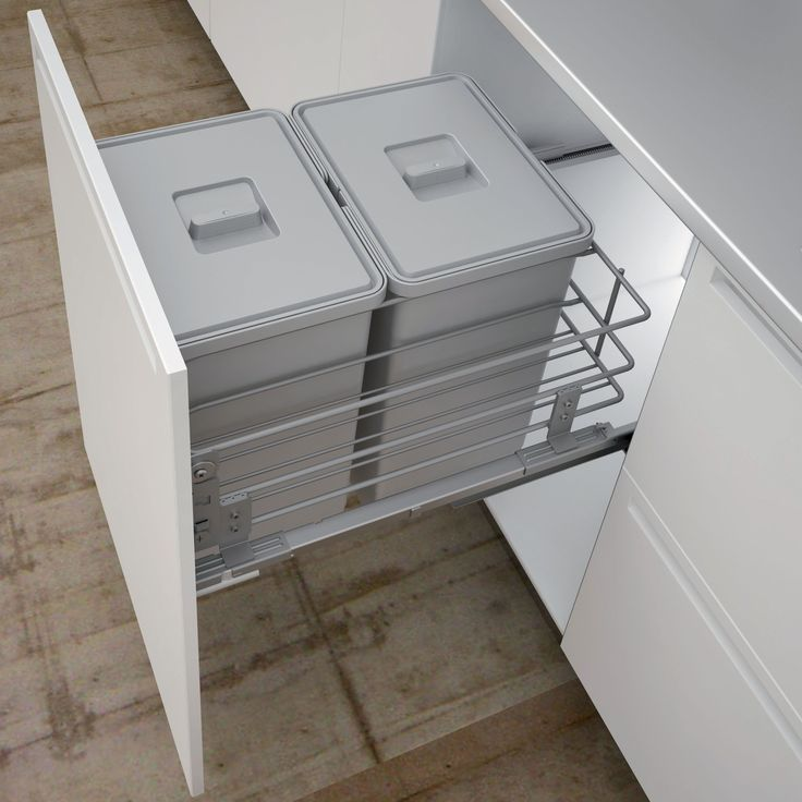 IT Kitchens Grey 500mm Integrated Pull-Out Kitchen Bins, 48L | Departments | DIY at B&Q