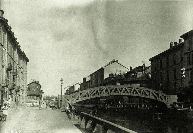 Naviglio Grande e il ponte in cemento, 1922 | da Milàn l'era inscì