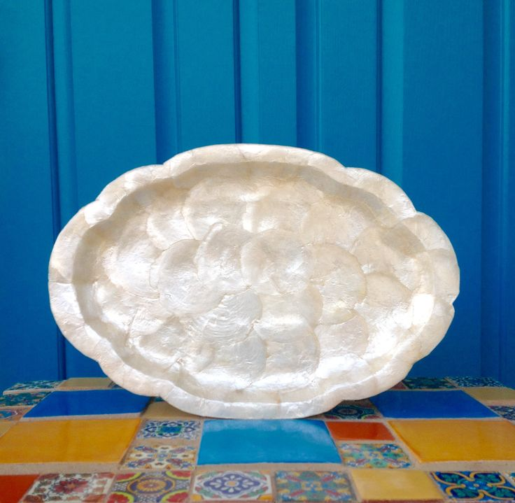 "FREE SHIPPING-Vintage 14"" Oval Scalloped Capiz Shell Tray-Tropical-Bohemian-Mermaid Decor-Tiki Decor-Barware-Vanity Decor-Serving Tray by ellansrelics02 on Etsy https://www.etsy.com/listing/597995077/free-shipping-vintage-14-oval-scalloped"