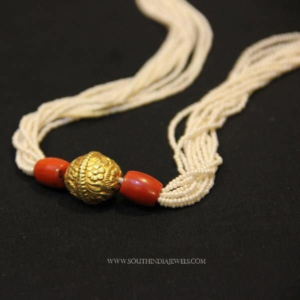 Silver Gold Plated Pearl Coral Mala, Pearl Coral Mala, Pearl Coral Mala Designs.