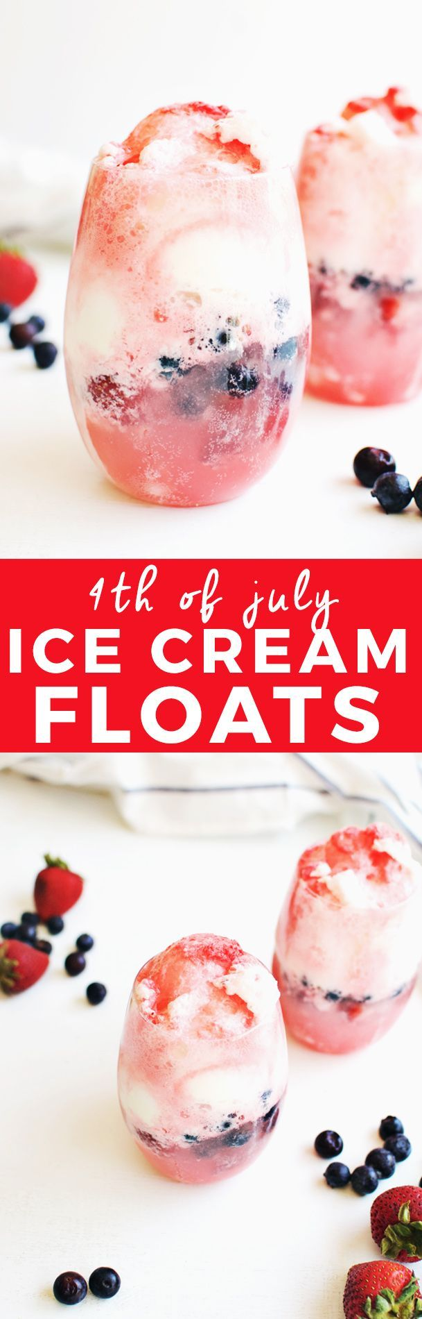 Red, White And Blue 4th of July Ice Cream Floats