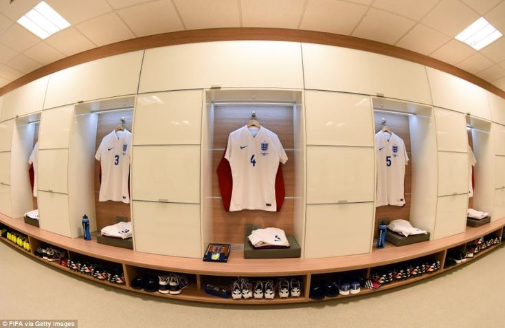 Gearing up: The shirts worn by England players hang in the dressing room for their match against Uruguay