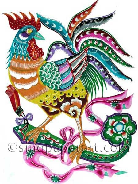 C zodiac - Rooster with Ruyi (green talisman said to bring good fortune for you hopes & dreams to come true)