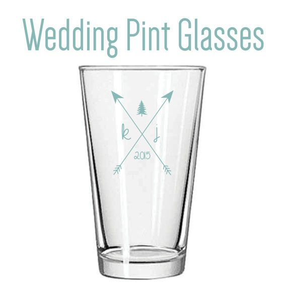 Custom Wedding Pint Glass Favors (variety of colors and logo options available!)  FREE SHIPPING!