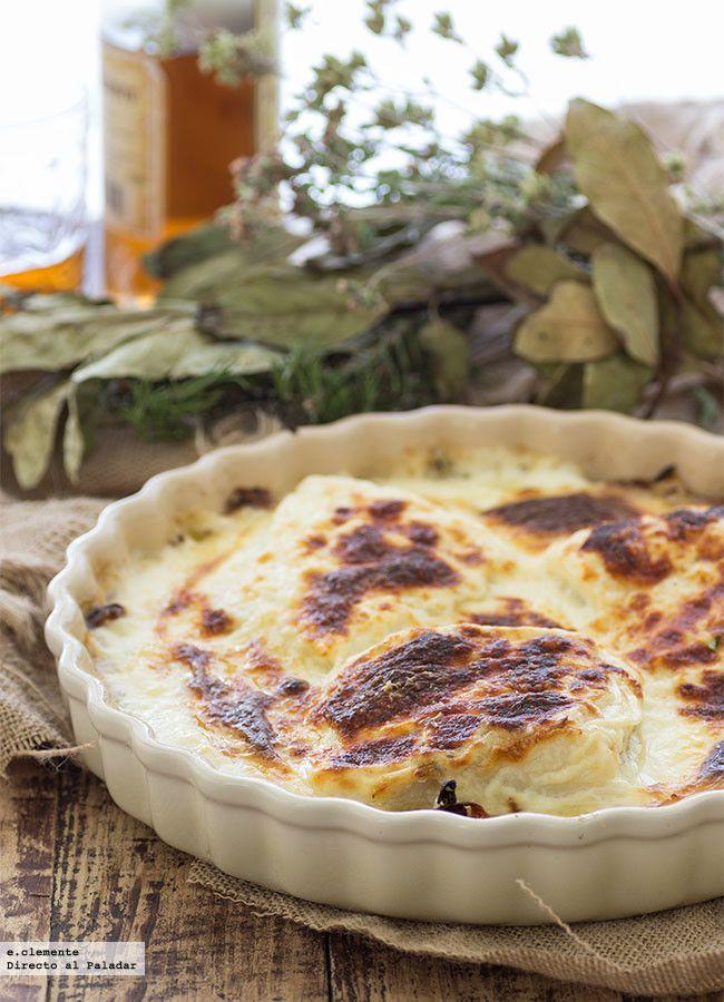 Bacalao gratinado con cebolla y patatas. Receta de Semana Santa