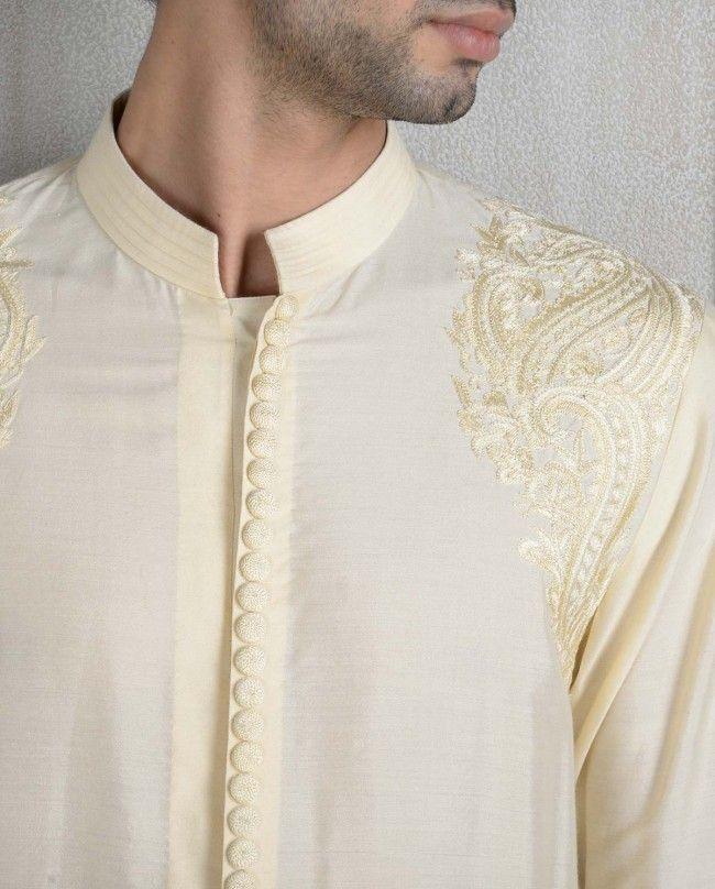 Resham Embroidered Cream Kurta - Shop Men's