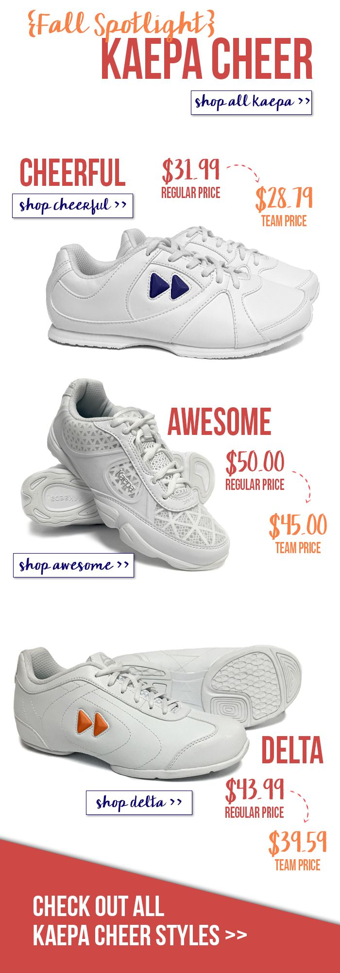 From Budget to Performance, Cheerleading shoes by kaepa are seriously perfect for any cheer level