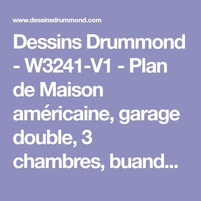 Dessins Drummond - W3241-V1 - Plan de Maison américaine, garage double, 3 chambres, buanderie, grande terrasse couverte