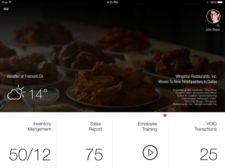 Wingstop app landing page with statistics