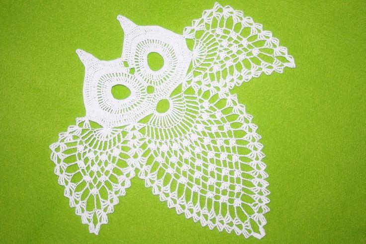 Crochet lace owl  #crochetowl , #laceowl, #doilyowl , #owldecor , #owl