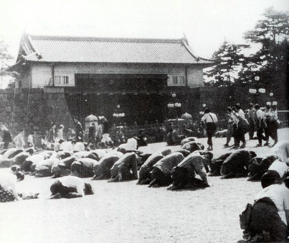 "In front of the Imperial Palace after the surrender of Japan - from the blog post ""Aikido Shihan Hiroshi Tada – the Yachimata Lecture, Part 2"": http://www.aikidosangenkai.org/blog/aikido-hiroshi-tada-yachimata-part-2/"