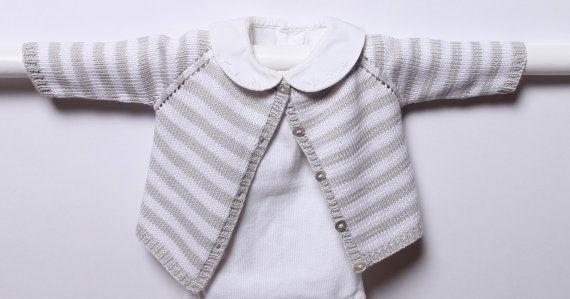 Modèle tricot Cardigan rayé / Instructions en Anglais PDF Téléchargement Instantané / Tailles Naissance / 3 / 6 / 9 /12 mois