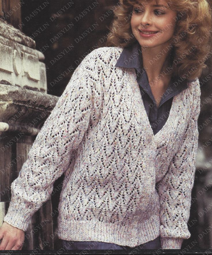 Instant PDF Download Ladies double knit lacy cardigan knitting pattern double knit 30/39 inch (352) by PatternsFromDaisylin on Etsy