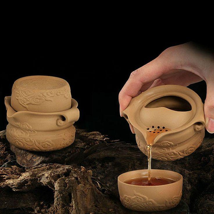Mr.Zhang-Zinnober Pottery Quick Tea Set-Sea of Clouds - Portable Tea Set - Teaware Enjoy / Slow / Green