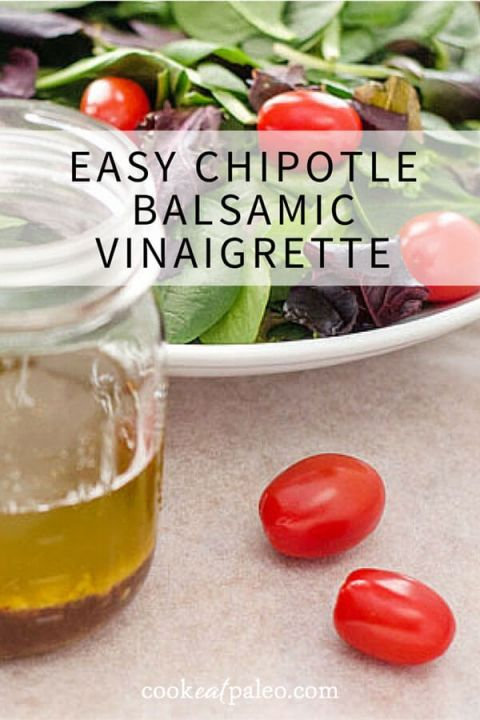This quick and easy chipotle balsamic vinaigrette is a great weeknight salad dressing recipe. No chopping and hardly any measuring — just pour everything in a jar and shake.